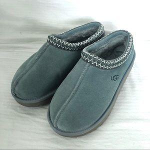 UGG Tasman Blue Suede Shearling Slipper Shoes EUC!